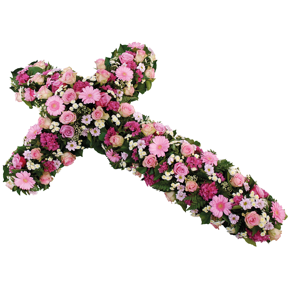 croix de fleurs deuil